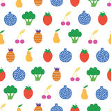 Vector Yummy Fruit Veggies Seamless Pattern Royalty Free Stock Photo