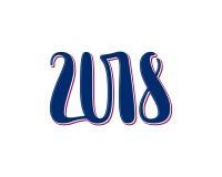 Vector Zahlen 2018, Schablonenillustration des neuen Jahres Stockbild