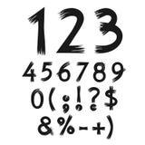 Vector Zahlen und Symbole, in Form von den Buchstaben, die mit Farbe gemalt werden Lizenzfreie Stockfotografie