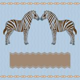 Zebra card with stripes Stock Photography