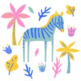 Vector zebra horse mammal wild  animal plant  childish cute illustration set stock illustration
