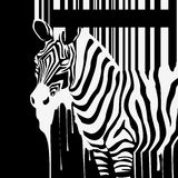 Vector zebra silhouette with smudges barcode. Abstract vector zebra silhouette with smudges barcode Royalty Free Stock Images