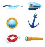 Vector zeevaartpictogrammen en emblemen Royalty-vrije Stock Fotografie