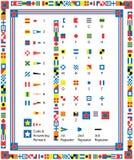 Vector ZeevaartVlaggen en Grenzen Stock Afbeeldingen