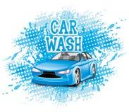 Vector Zeichen Autowashington-saubere Maschine, Autowäsche mit Schwamm und Schlauch Lizenzfreies Stockbild