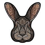 Vector Zeichenkopf eines Kaninchens, Hasen Stockfotografie