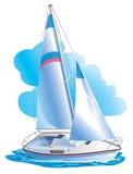 Vector Zeichnung der Yacht gegen Wolken Stockbilder