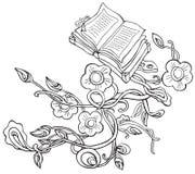 Vector Zeichnungsanlagen mit Blumen und alten Büchern lizenzfreie abbildung