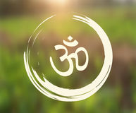 Vector Zen Circle with Om Symbol on Natural Background Stock Photo
