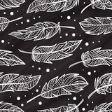 Vector zendoodle feathers seamless pattern on a chalkbord background stock illustration