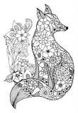 Vector zentagl иллюстрации, лисички портрета среди цветков Чертеж Doodle Медитативные тренировки Str книжка-раскраски анти- иллюстрация штока