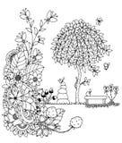 Vector zentangl иллюстрации, стенд и дерево Чертеж Doodle бесплатная иллюстрация