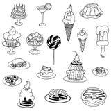 Vector zentangl иллюстрации, торт doodle, десерт Медитативные тренировки Стресс книжка-раскраски анти- для взрослых черный иллюстрация штока