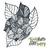 Vector zentangle for adult coloring book pages. Floral ornament pattern with lettering - Think happy Stay happy. Royalty Free Stock Image