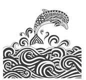 Vector zentangle dolphins in scrolling sea wave for adult coloring page, book cover, poster, T shirt design and other decoration - Stock Photography
