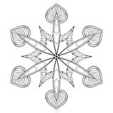 Vector zentangle elegant snow flake, mandala for adult coloring Stock Images