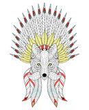Vector zentangle Fox with War Bonnet and mustache. American head Royalty Free Stock Image
