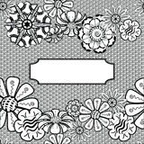 Vector Zentangle Frame - Hand Drawn. Vector. Seamless floral retro doodle black and white background pattern in vector. Texture. Zentangle Frame - Hand Drawn Royalty Free Stock Photography