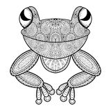 Vector zentangle frog for adult anti stress coloring page. Hand Stock Photo