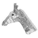 Vector zentangle giraffe stock illustration