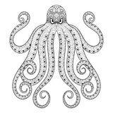 Vector zentangle octopus print for adult coloring page. Hand dra Royalty Free Stock Photos
