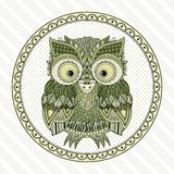 Vector zentangle owl illustration. Ornate patterned bird. Royalty Free Stock Photography