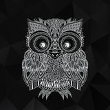 Vector zentangle owl illustration. Ornate patterned bird. Stock Photo