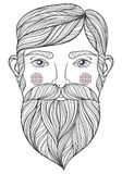 Vector zentangle Portrait of bearder Man with mustache for adult Royalty Free Stock Image