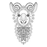 Vector zentangle Ram Head illustration,  Goat print for adult an Royalty Free Stock Photography