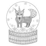 Vector zentangle snow globe with maic cat like unicorn. Vector zentangle snow globe with magic cat like unicorn. Hand drawn ethnic Catcorn for adult coloring Royalty Free Stock Photography