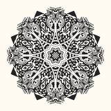 Vector zentangle template. Round ornament. Vector zentangle template. Creative circular ornament. Round symmetrical pattern. Decorative round mandala. Floral Royalty Free Stock Photography