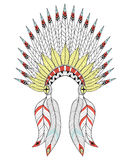Vector zentangle War Bonnet with color feathers. American native Royalty Free Stock Images