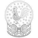 Vector zentangle Weihnachtsschneekugel mit Hahn, Schneeflocken lizenzfreie abbildung
