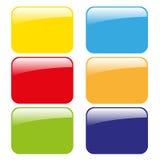 Vector zes kleuren glanzende lege pictogrammen Stock Foto