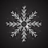 Vector Zilveren Fonkelende Sneeuwvlok Royalty-vrije Stock Afbeeldingen