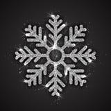 Vector Zilveren Fonkelende Sneeuwvlok Stock Foto's