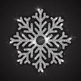 Vector Zilveren Fonkelende Sneeuwvlok Royalty-vrije Stock Afbeelding
