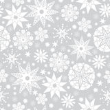 Vector Zilveren Grijze en Witte Abstracte Naadloze het Patroonachtergrond van Krabbelsterren Groot voor elegante textuurstof, kaa Stock Foto's