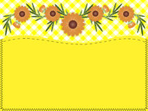 Vector Zinnia, Gingham, Quilting and Copy space. Eps10.  Orange zinnia on yellow gingham with copy space and quilting stitches Stock Photos