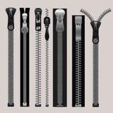 Vector zippers, fastener vector set Stock Image