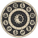 Circle of zodiac signs in an antique style Stock Image