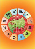 Vector zodiac with globe Stock Image