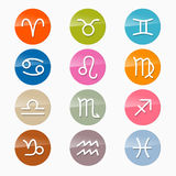 Vector Zodiac, Horoscope Circle Icons. Vector Zodiac, Horoscope Circle Symbols in Retro Colors Stock Images