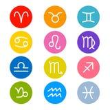 Vector Zodiac, Horoscope Circle Symbols. In Retro Colors Stock Illustration