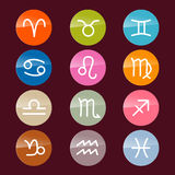 Vector Zodiac, Horoscope Icons. Vector Zodiac, Horoscope Circle Colorful Symbols Stock Photography