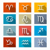 Vector Zodiac, Horoscope Rectangle Symbols Set Royalty Free Stock Photos