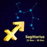 Vector  zodiac sign Sagittarius. Stock Image