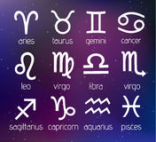 Vector Zodiac Signs Set Illustration on Cosmic Galaxy Background Royalty Free Stock Image