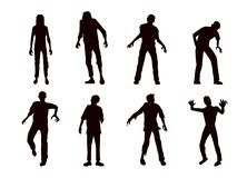 Vector zombie collection in silhouette style. royalty free stock image