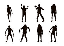 Vector zombie collection in silhouette style Royalty Free Stock Image